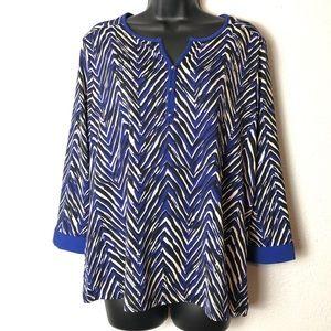 NOTATIONS blue black zebra style shirt blouse Sz L